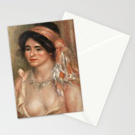 Woman with Black Hair (Jeune femme avec cheveux noirs, buste) (1911) by Pierre-Auguste Renoir. Stationery Cards