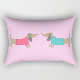 Cute dogs in love with dots in pink background Rectangular Pillow