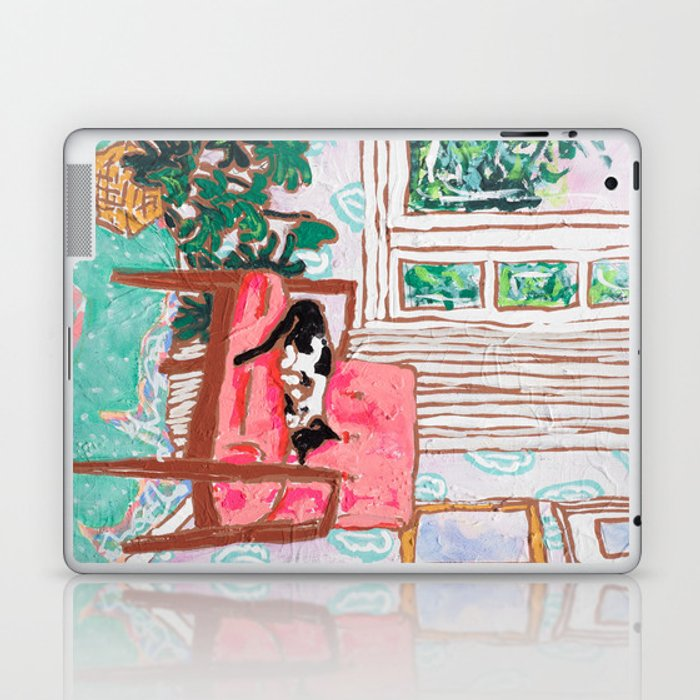 Little Naps - Tuxedo Cat Napping in a Pink Mid-Century Chair by the Window Laptop & iPad Skin