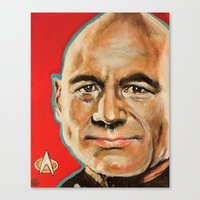 picard Canvas Prints featuring Jean Luc Picard by Kristin Frenzel