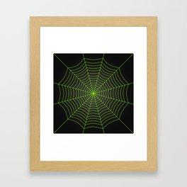 Neon green spider web Framed Art Print