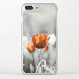 Orange Grey Tulip Photography, Burnt Orange Tulip Flowers Photo Clear iPhone Case