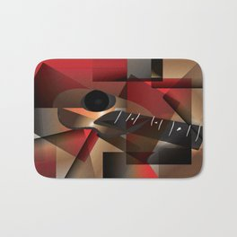 Man in red playing the guitar Bath Mat