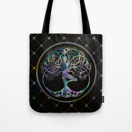 Glowing symbol for Vriksasana - Yoga Tree pose Tote Bag
