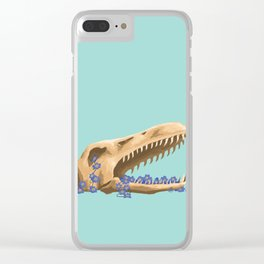Plesiosaurus and Forget-Me-Nots Clear iPhone Case
