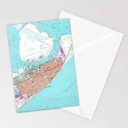 Vintage Map of Galveston Texas (1954) 2 Stationery Cards