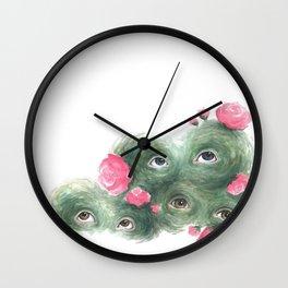 Peeping Peonies 2 Wall Clock