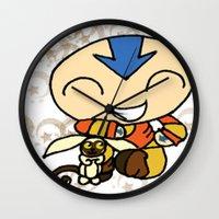 aang Wall Clocks featuring PowerPuff Aang by auroranq