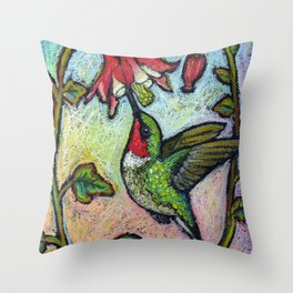 Rubythroat and Red Columbine Throw Pillow