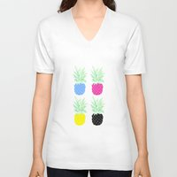 pineapples V-neck T-shirts featuring Pineapples by adovemore
