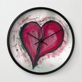 Cracked & Splattered Heart Wall Clock