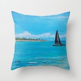 Black Sails Catamaran Throw Pillow