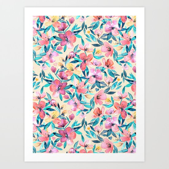 Peach Spring Floral in Watercolors Art Print