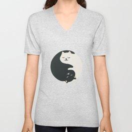 Hidden cat 26 yin yang hug Unisex V-Neck