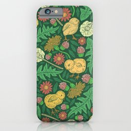 Orange hen with yellow chickens and dandelions on green background iPhone Case