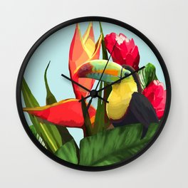 Toucan Tropical Banana Leaves Bouquet Wall Clock