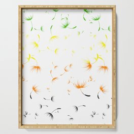 Dandelion Seeds Aromantic Pride (white background) Serving Tray