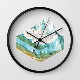 Low Poly Arctic Scenes - King Penguins (Isometric) Wall Clock