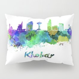 Khobar skyline in watercolor Pillow Sham
