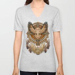 Native American-Style Great Horned Owl Mandala Unisex V-Neck