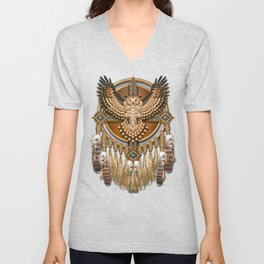 Native American-Style Great Horned Owl Mandala Unisex V-Neck
