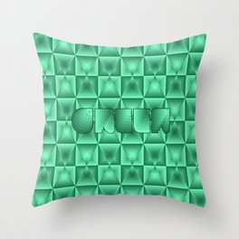 Optical green squares Throw Pillow