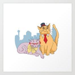 Calgary Cats Art Print