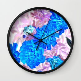Blue Marigolds Wall Clock