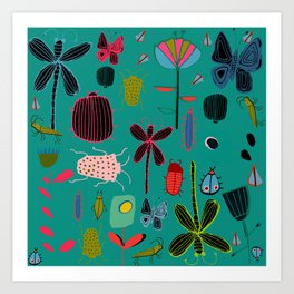 bugs and insects green Art Print