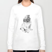 pug Long Sleeve T-shirts featuring Pug by Maripili
