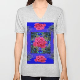 CONTEMPORARY PINK ROSES & PEACOCK FEATHERS BLUE ART Unisex V-Neck