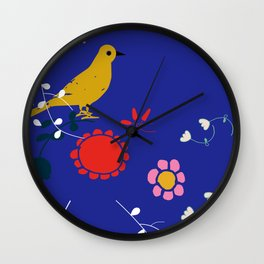 Bird and blossom electric blue Wall Clock