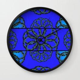 Royal  Blue Vintage Rings Wall Clock