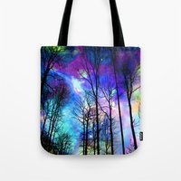 decal Tote Bags featuring fantasy sky by haroulita