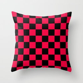 Black and Red Checkerboard Pattern Throw Pillow