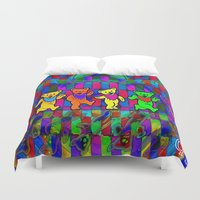 grateful dead Duvet Covers featuring Grateful Dead Dancing Bears Colorful Psychedelic Characters #1 by CAP Artwork & Design