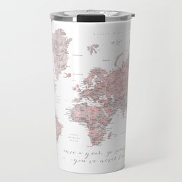 Detailed world map in dusty pink and grey, once a year.... Travel Mug