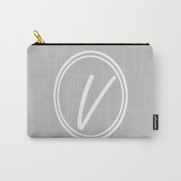 Monogram - Letter V on Gray Background Carry-All Pouch