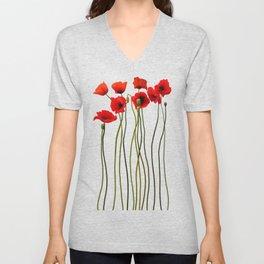 Watercolor Poppies Unisex V-Neck