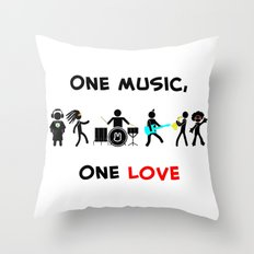 One Music, One Love Throw Pillow