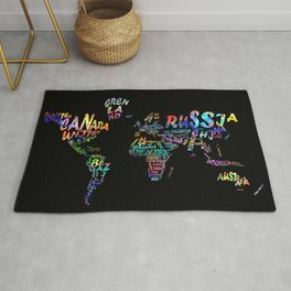 world map watercolor typography 3 Rug