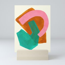 Ochre Pink Marine Green Fun Colorful Mid Century Modern Abstract Painting Shapes Pattern Mini Art Print