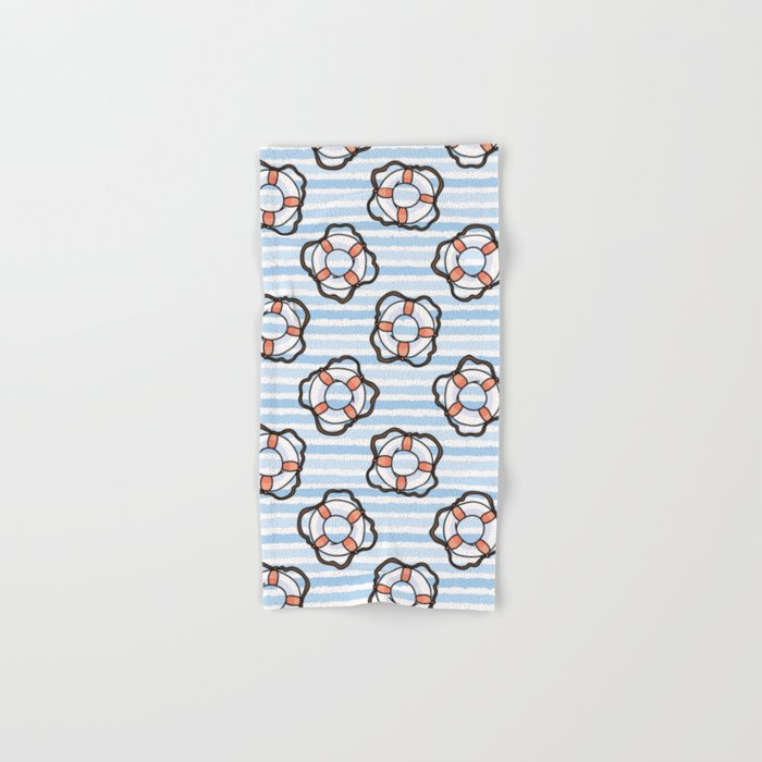 Cute white and red lifering in the ocean cartoon seamless pattern  Hand &  Bath Towel by limolida