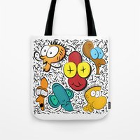 cartoon Tote Bags featuring Cartoon by John's Michelle