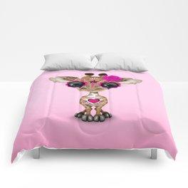 Pink Day of the Dead Sugar Skull Baby Giraffe Comforters