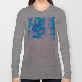 Girly Pastel Pink and Blue Watercolor Paint Drips Long Sleeve T-shirt