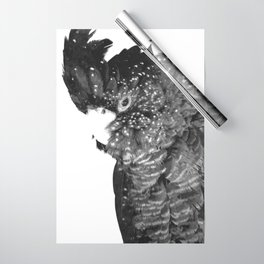 Black and White Cockatoo Illustration Wrapping Paper