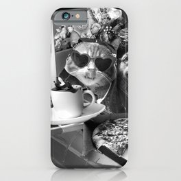 Dog Cat Drive-in With Pizza Coffee Flowers iPhone Case