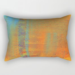 Abstract in Gold, Copper and Aqua Rectangular Pillow