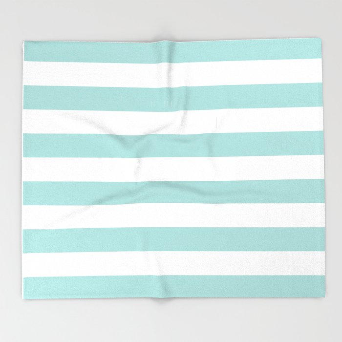 Aqua Blue And White Stripes Throw Blanket By Amybrinkman